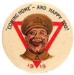 """COMING HOME-AND HAPPY TOO! 1919"" AUSTRALIAN BUTTON WITH YMCA RED TRIANGLE."