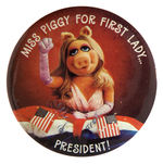 MISS PIGGY 1980 CAMPAIGN BUTTON