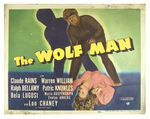 """THE WOLF MAN"" TITLE LOBBY CARD AND PAIR OF STILLS."