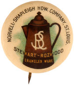 "CPB PRODUCTS #4601 ""STEWART ROZWOOD ENAMELED WARE"" ADVERTISING BUTTON."