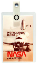 "NASA SPACE SHUTTLE FLIGHT 51-1 ""DISTINGUISHED GUEST"" PASS."