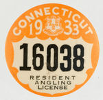 """CONNECTICUT 1933 RESIDENT ANGLING LICENSE."""