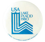 """USA LAKE PLACID 1980"" BUTTON."