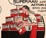 """SUPERMAN IN ACTION COMICS"" 1939 PROMOTIONAL FLIER FOR NEWSSTANDS."
