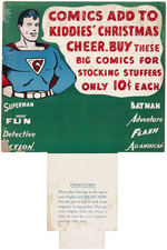 SUPERMAN GOLDEN AGE CHRISTMAS COMIC BOOK RACK TOPPER.