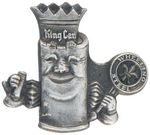 "ANTHROPOMORPHIC ""KING CAN"" HOLDING ""WHEELING STEEL"" SCEPTRE."