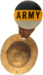 ARMY FOOTBALL GAME EARLY BUTTON WITH WORLD WAR 1 STYLE BRASS HELMET.