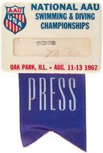 PRESS BADGE FOR 1967 NATIONAL AAU SWIMMING & DIVING CHAMPIONSHIPS.