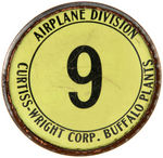 AIRPLANE DIVISION/CURTISS-WRIGHT CORP. BUFFALO PLANT EMPLOYEE BADGE.