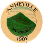 "EARLY BUTTON SHOWS FAMOUS ""MT. PISGAH"" IN ""ASHEVILLE"" NORTH CAROLINA."