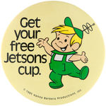 ELROY JETSON 1985 FAST FOOD RESTAURANT CLERK'S BUTTON.
