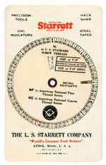 """STARRETT"" TOOLS CELLULOID DEVICE TO CALCULATE SCREW THREADS & TAP DRILLS."