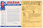 """CAPTAIN MARVEL CLUB"" LETTER AND ORDER FORM FOR RARE MARY MARVEL HANDBAG"