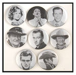 TEMPLE, GARLAND, SINATRA, WAYNE, DEAN STRIKING BLACK/SILVER 1980s PORTRAIT BUTTONS.