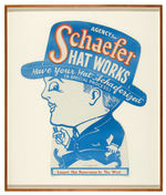 """SCHAEFER HAT WORKS"" DIE-CUT STORE SIGN FRAMED."
