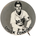 MONTREAL ROYALS 1948 CHUCK CONNORS REAL PHOTO BUTTON.