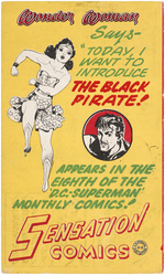 """SENSATION COMICS"" PROMOTIONAL POSTCARD FEATURING WONDER WOMAN & THE BLACK PIRATE."