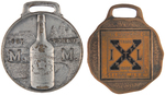 WHISKEY AND HARDWARE PAIR OF ADVERTISING POCKET WATCH FOBS.