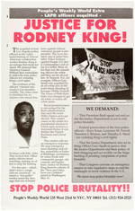 """JUSTICE FOR RODNEY KING!"" MAY, 1992 COMMUNIST NEWSPAPER ISSUED POSTER."