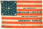 "SPLENDID ""FOR PRESIDENT, ABRAHAM LINCOLN"" PARADE FLAG THE CROWN JEWEL OF THE LEON ROWE COLLECTION."