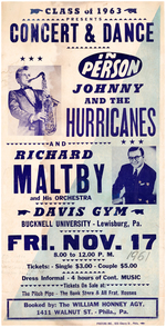 "RARE ""IN PERSON JOHNNY AND THE HURRICANES"" 1961 CONCERT POSTER."