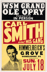 """CARL SMITH AND HIS GANG"" GRAND OLE OPRY BOXING STYLE CONCERT POSTER."