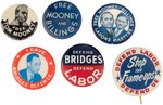 "MOONEY & BILLINGS ""LABOR'S MARTYRS"" (3) AND HARRY BRIDGES UNION ORGANIZER (3) BUTTONS."