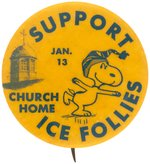 "SNOOPY IN SKATING POSE ON 1960s ERA BALTIMORE ""SUPPORT ICE FOLLIES"" BUTTON."