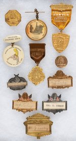 NATIONAL CANNERS ASSOC. FIRST CONVENTION BADGE 1908 PLUS TEN BADGES THROUGH 1916.