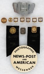 "BALTIMORE NEWSBOY SEVEN AWARDS, ""1937 FLOOD RELIEF CHAMPION""  BOXING BUCKLE & FOUR RELATED ITEMS."