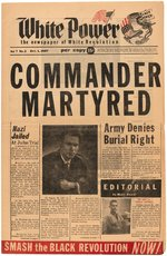 "GEORGE LINCOLN ROCKWELL ""COMMANDER MARTYRED"" RACIST NEWSPAPER."