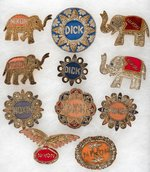 COLLECTION OF 11 ORNATE NIXON 1960 BADGES.