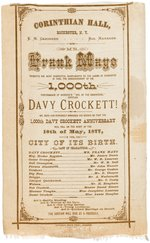 RIBBON FROM 1877 ANNOUNCING FRANK MAYO'S 1000TH PERFORMANCE AS DAVY CROCKETT.