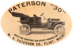 PATERSON AUTOMOBILE 1910 AD MIRROR TO PROMOTE 30 HORSEPOWER VEHICLE.