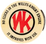 CLICKER ADVERTISING WILLYS-KNIGHT ENGINE WITH W&H DEC. 6 1904 PATENT DATE.