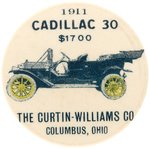 "RARE 1911 BUTTON PICTURING THE ""CADILLAC 30""."