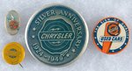 CHRYSLER FOUR SCARCE BUTTONS WITH THE 1930s-1940s LOGO.
