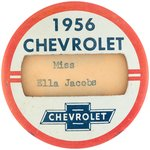 CHEVROLET PAIR OF RARE BUTTONS FOR MODEL YEARS 1955 AND 1956.