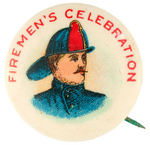 FIREMAN'S CELEBRATION COLORFUL 1930s BUTTON
