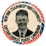 """CAPTAIN CHARLES 'PLUCKY' LINDBERGH""  CLASSIC HISTORIC FLIGHT BUTTON"