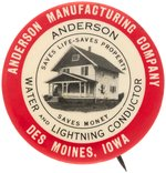 "RARE BUTTON FOR THE ""ANDERSON WATER AND LIGHTNING CONDUCTOR"" C. 1900-12."