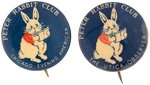 """PETER RABBIT CLUB"" 1920s NEWSPAPER ISSUED BUTTONS FROM CHICAGO AND UTICA."