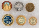PANAMA-PACIFIC 1915 SAN FRANCISCO 6 PINS AND STUDS INCLUDING RARE WOMAN'S AUXILIARY.