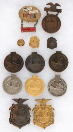 SHIP BUILDING WWI 13 BADGES INCLUDING SEVEN WITH SERIAL NUMBERS