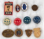 PERSHING AND WAR SAVING STAMPS HIGH CONTRIBUTION AWARD BUTTONS AND PIN.