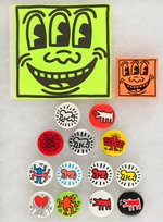 "KEITH HARING 14 BUTTONS & 1 STICKER SPANNING 1982 TO C. 1986 SOHO OPENING OF HIS ""POP SHOP""."