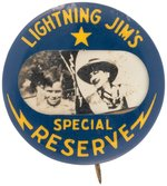 LIGHTNING JIM U.S. MARSHAL 1940 RARE RADIO PREMIUM BUTTON WITH PHOTO OF MEMBER & JIM.