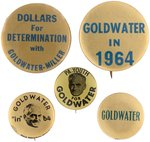 FIVE GOLDWATER 1964 CAMPAIGN BUTTONS.