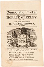 "GREELEY/BROWN ""CONSTITUTION AND UNION"" SCARCE NEW HAMPSHIRE BALLOT."