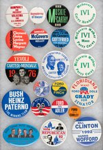 COLLECTION OF 21 COATTAIL BUTTONS HUMPHREY, McGOVERN, CARTER, FORD, BUSH & CLINTON.